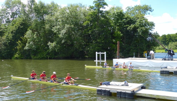 The Stewards' Challenge Cup (Men's Open Coxless Fours): Newcastle University and Robert Gordon University (far side) against Hollandia Roeiclub from what the usually pedantic Stewards insist on calling 'Holland'.