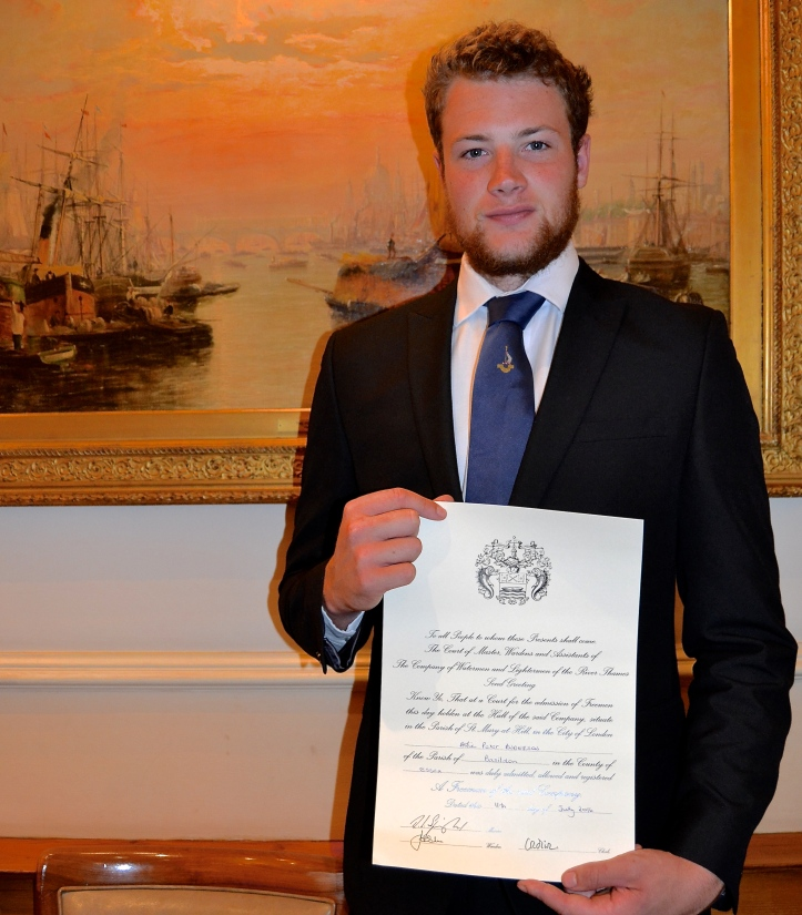 At the Waterman's 'Court of Admissions' on 11 July, the three Doggett's first-timers, McCarthy, Berry and Anderson, were admitted as 'Freemen of the Company by Servitude' along with six others who also had just completed their apprenticeship. Here Alfie Anderson displays his certificate. There will be more on this ceremony in a future HTBS post.