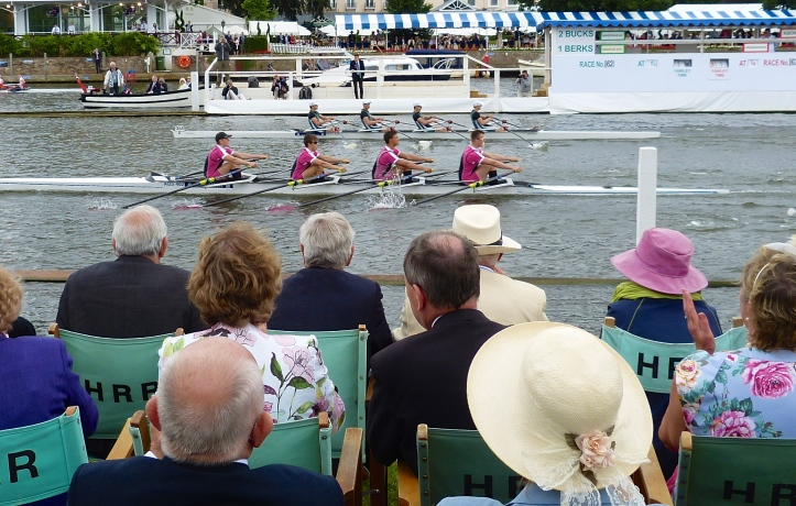 The Fawley Challenge Cup (Junior Men's Quads): Abingdon School (enclosure side) beat Maidenhead Rowing Club by a canvass.