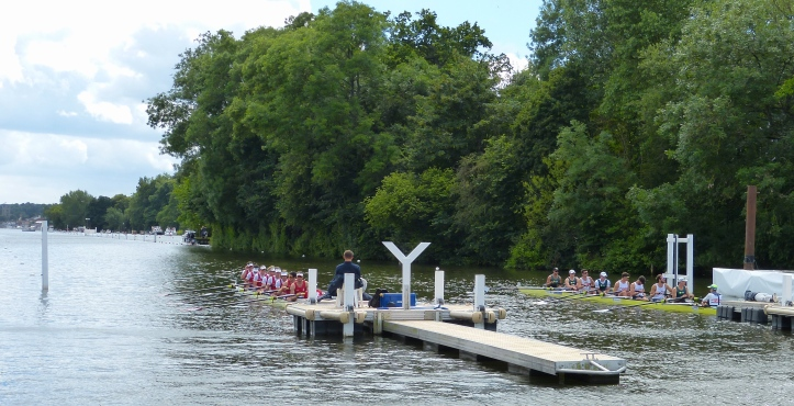 The Grand Challenge Cup (Men's Open Eights): New York Athletic Club and California Rowing Club, USA, (far side) lost to Hollandia Roeiclub, Holland, by 2/3 length.