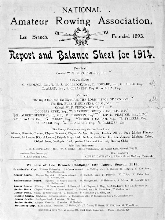 Report and Balance Sheet for 1914