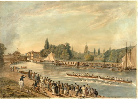 One of the earliest known scenes of a race between two eight-oared boats at Oxford University. It was originally thought to be the 1822 'disputed bump', but now believed to be the 1821 race which Brasenose won.