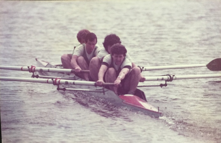 Carbocraft 4+ with wooden 'Macon' oars – me with hair – must be 1982/83.