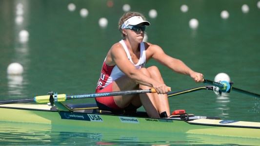 Genevra Stone, American silver medallist in the women's singl;e sculls. Photo: FISA/Worldrowing.com