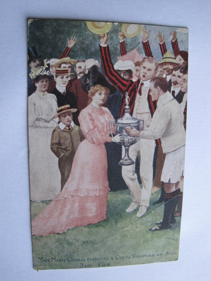 I didn't mind this postcard being published. The day I presented the cup to Stratford-on-Avon Boat Club, the captain called for 'three cheers for Miss Corelli, our Mighty Atom' and my boys threw their boaters in the air.