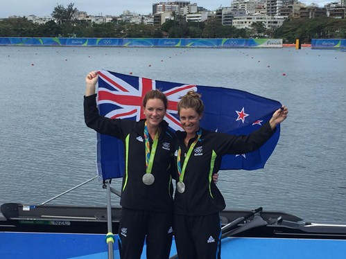 Rebecca Scown and Genevieve Behrent of New Zealand, silver meddalists in the women's pair. Photo: FISA.