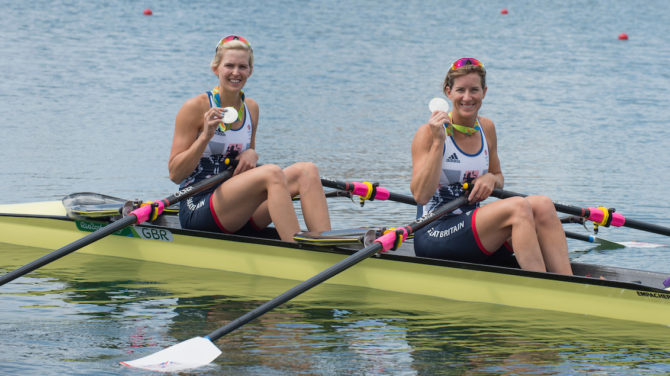 Victoria Thornley (bow) and Katherine Grainger, Olympic silver medallists in the double sculls. Photo: British Rowing.