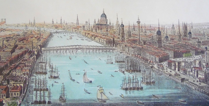 Looking west along the Thames in 1794. In the foreground is 'Old London Bridge', 1209-1831, the start point for the Doggett's Coat and Badge. This shows the first 3,000 metres of the race, as far as Westminster. The other bridge is the first one built at Blackfriars, opened in 1769.