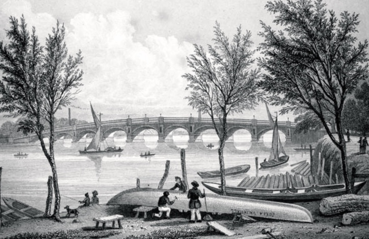 Vauxhall Bridge viewed from the north bank, 1827.