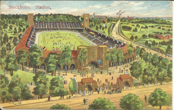 'The Stadion', the specially built 15,000 seater venue for the 1912 Olympics and which survives little changed today. It must be the first example of the now mandatory 'Olympic Heritage'.