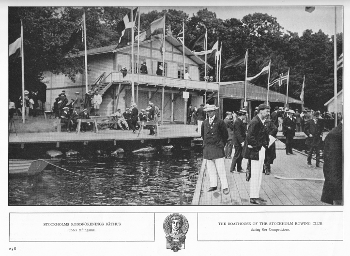 Stockholm's Roddförening boathouse, a picture taken from the 'Rodd' souvenir booklet. This building was demolished shortly after the Games and a new boathouse was built nearby. Boats were stored in a marquee 30 metres long and erected in line with the boathouse (on the right of the picture here). Another large tent pitched nearby provided dressing rooms for each nation.