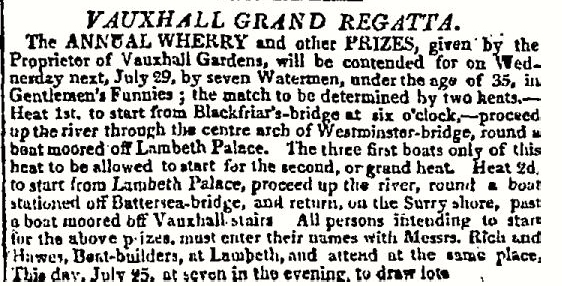 A notice in The Times, 25 July 1812. 'Gentlemen's Funnies' were in-rigged single sculling boats.