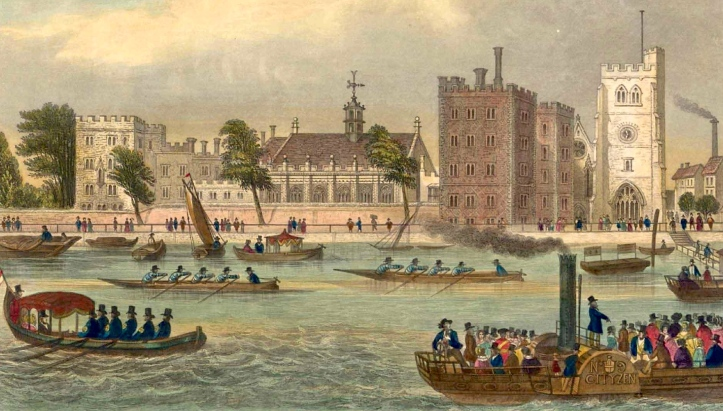 In this view of Lambeth Palace in 1850, the buildings on the right are still clearly recognisable in the modern photograph.