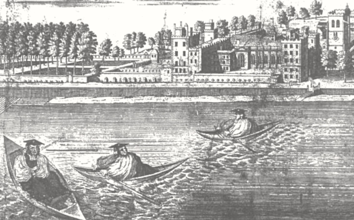 My main reason for including Lambeth Palace in a rowing piece is so I can show this cartoon of 1737, titled 'The Race for Canterbury'.