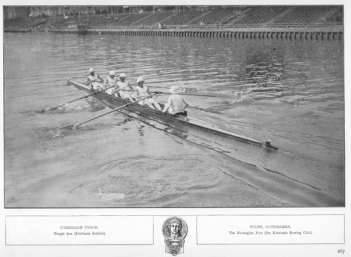The Christiania Roklub from Oslo, Norway. In their first heat, they rowed their Austrian opponents to a standstill. In the quarterfinal, they had a hard race with the Belgians but came from behind to win by a length. In the semi-final, Thames were a length ahead for most of the way but Christiania managed to close the final gap to only three metres.