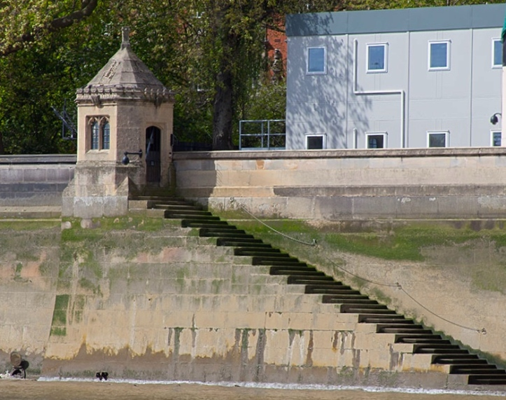 A close up of 'Black Rod's Steps'. The Gentleman Usher of the Black Rod is, in theory, responsible for maintaining the buildings, services, and security of the Palace of Westminster. His steps are a reminder of the time when travelling by river was faster, safer and more comfortable than attempting to use the unsatisfactory roads.