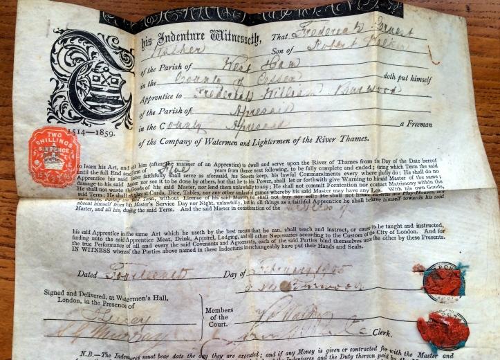FE Walker's certificate of indenture to FW Burwood, dated 1905.