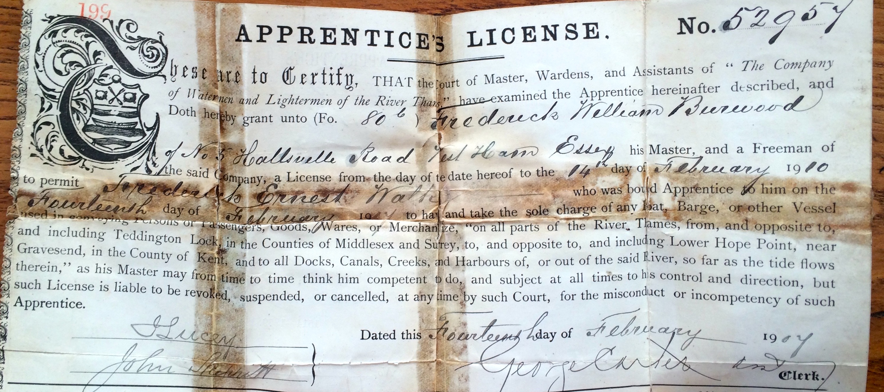 newly admitted watermen able to commit fornication or contract fe walker s apprentice s license dated 1907 this seems to allow him to