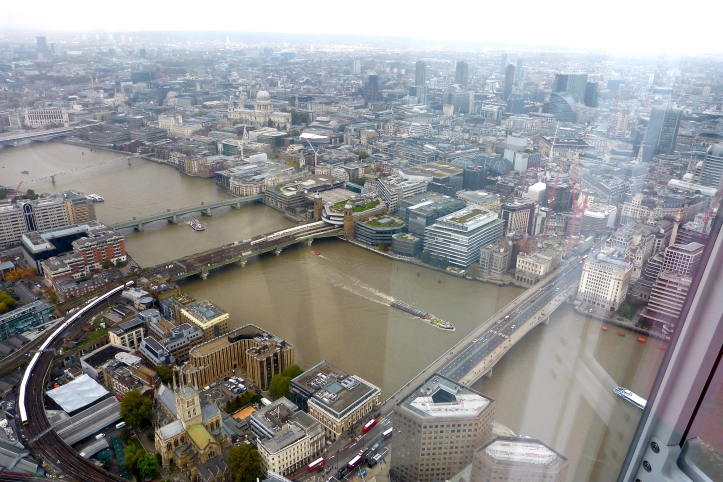 A shorter view, showing the first 1,000 metres of the Doggett's course, pictured from the Shard building last year. On the right is the current London Bridge, opened in 1972. To its left on the opposite bank is Fishmongers' Hall. The other bridges are Cannon Street, Southwark, Millennium and Blackfriars.