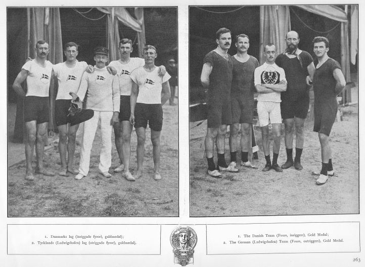 More pictures from 'Rodd'. The Danes who won inrigged fours (left) and the Germans who won the conventional outrigged coxed fours (right).