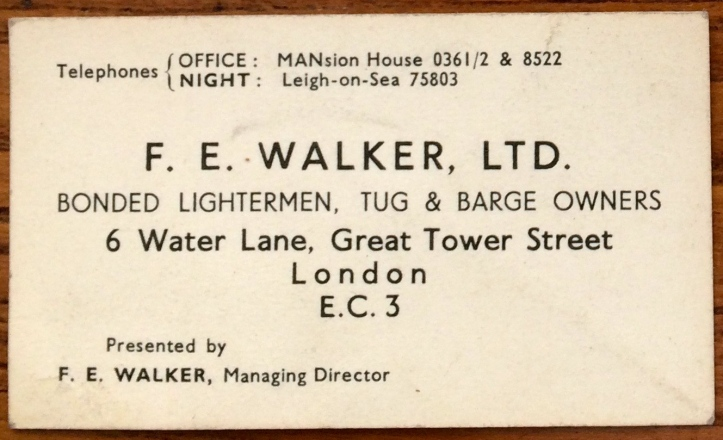 FE Walker's business card from the company that he formed in 1920.