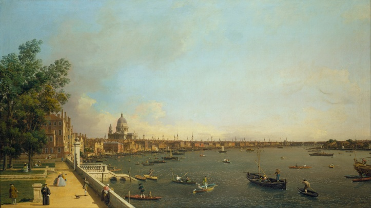The same view painted by Canaletto in 1750. It may be romanticised but the number of watermen illustrated is probably accurate.