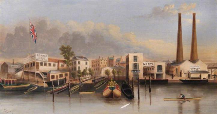 'Lambeth and Southwark Waterfront, London' (1853) by Richard John Pembery, 1820-1891. (Lambeth Archives). On the left, Searle's boatyard was probably the most notable in Lambeth at this time and was the first home (c. 1818-1860) of what became Leander Club. A splendid article by Nigel à Brassard on both the origins of Leander and on the different versions of this painting is here. http://www.sportshistorian.co.uk/#!Leander's-original-location-at-Lambeth/cnei/55705d480cf219f177258017 Other boat builders shown are Allen and also North.