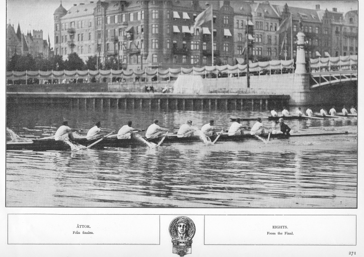 The final of the Eights. Leander lead New College as they go under the Djurgården Bridge.