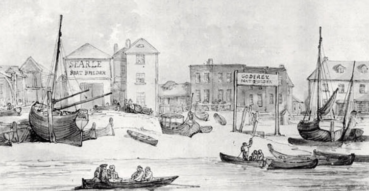 Searle's and another boat builder, Godfrey's, c.1840. At some stage, they were in partnership.