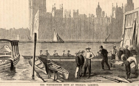 'The Westminster (School) Boys at Searle's, Lambeth'. Date unknown but the current Palace of Westminster is shown opposite, so it is post-1852.