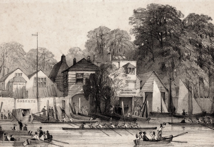 Upriver from Searle's, near to Lambeth Palace, was Roberts Boat Builders, pictured here in 1860.