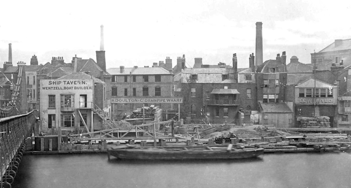 Upriver again from Roberts, next to the old Lambeth Bridge. This 1866 view of Lower Fore Street shows, on the left, the Ship Tavern and Wentzell boat builders sharing the same premises and, on the right, boat builder Edward Wyld, from where Westminster School boated.