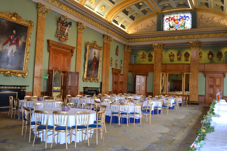 The wonderful Fishmongers' Banqueting Hall. It is here every November that the winner of that year's Doggett's is presented at a grand dinner, the first time that he will wear his Coat and Badge. See the procession and presentation from 7 minutes and 30 seconds in this video.