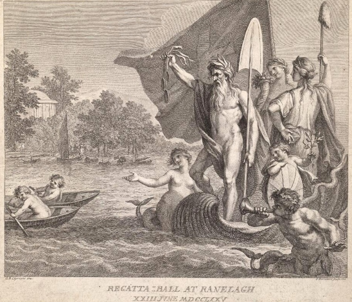 One of the 1,500 tickets sold for the Raleigh Ball. In his Beauty and the Boats (2005), Tom Weil says that this is the earliest known image of a prize-giver for a sporting event holding up medals on ribbons. I should add that naked men are no longer allowed to officiate at junior rowing events.