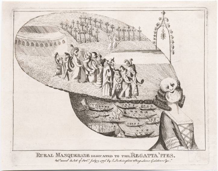 A peculiar and slightly disturbing cartoon of 1776 titled 'Rural Masquerade Dedicated to the Regatta'ites'. The top part of the headdress shows figures in a garden dressed for a masquerade. Below is probably a scene from the Ranelagh Regatta. Despite the female body, the figure may be meant to be Neptune or Father Thames.