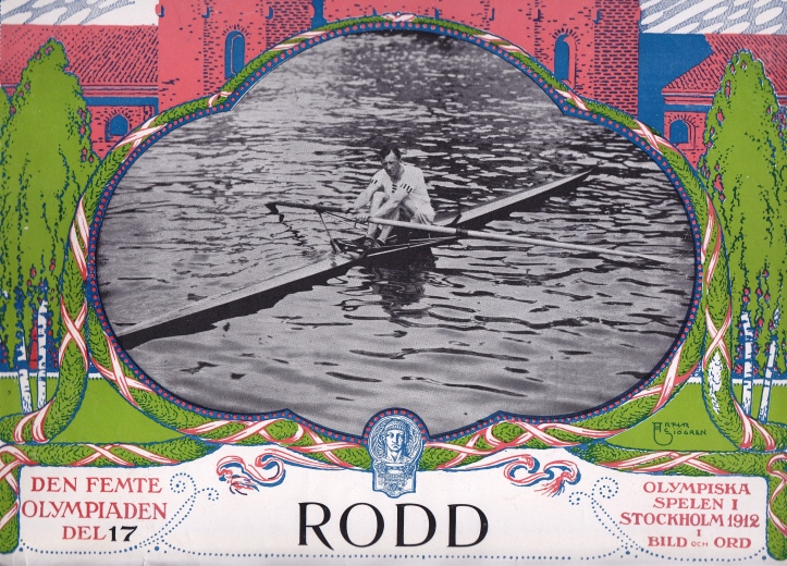 The post-Games souvenir booklet of rowing pictures, 'Rodd'. WD Kinnear, the winner of the single sculls, adorns the cover.