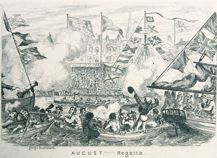 This George Cruickshank https://en.wikipedia.org/wiki/George_Cruikshank satire dates from over sixty years after the Ranelagh Regatta but I think that it probably captures the spirit of that earlier occasion.
