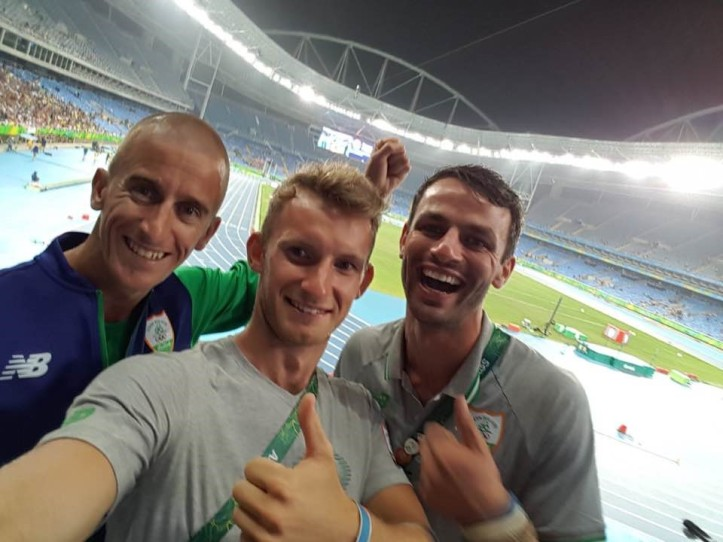A selfie by Gary O'Donovan with Rob Heffernan (left) and Thomas Barr (right). Heffernan a five-time Olympian (2000 to 2016), finished 4th in the 50km Walk in London in 2012 and in March 2016 was upgraded to the bronze medal position after the race winner, Sergey Kirdyapkin (Russia), was eventually disqualified after a protracted appeals procedure. Photo: Gary O'Donovan.