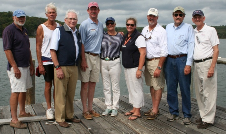 Coastweeks Regatta organisers and supporters, from left to right: Pete Tebeau, Tom Sanford, Ed Monahan, Steve White, Gillian Perry Millsom, Shannon McKenzie, Mike O'Neil, Dana Hewson and Rob Simmons.