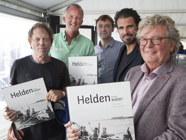 Olympic gold medallists Jan Wienese and Nico Rienks, the producer of the book Johan ten Berg, photographer Stephan Vanfleteren and author Leo van de Ruit.