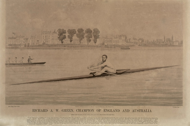 'Richard A W Green Champion of England and Australia', a lithograph by Ashton Bragg, 22 x 32 inches. It was published in October 1863 by George Newbold of the Strand, London. Below the picture is a list of Green's most important races.