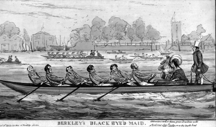 A not too serious view of gentlemen (plus passengers) rowing a six-oar from 1827.