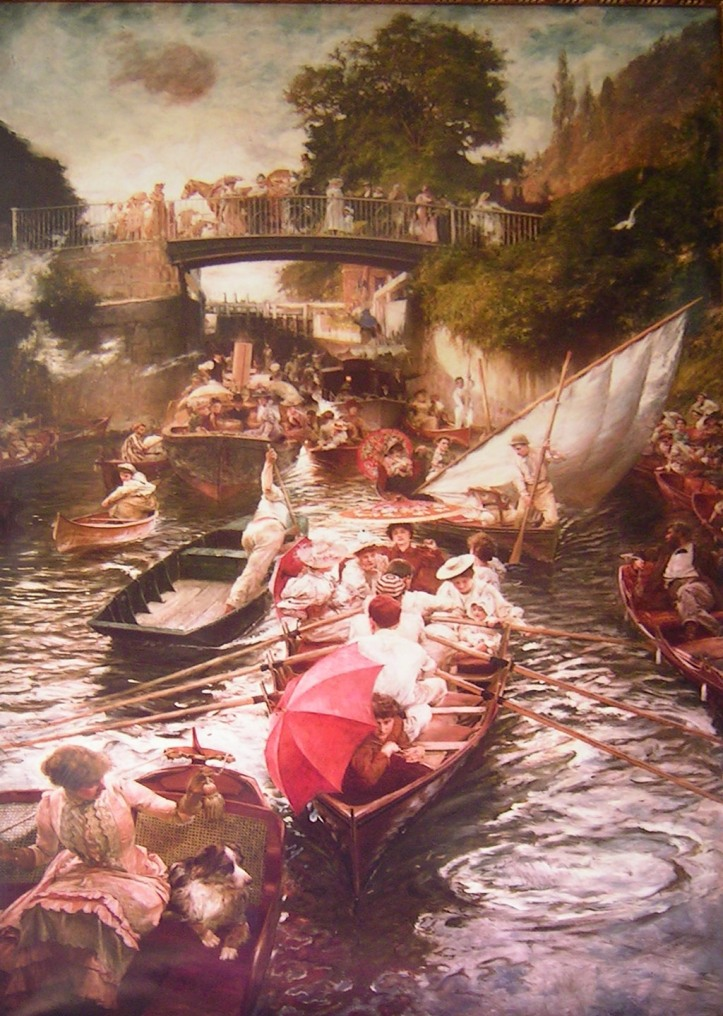 During horse racing's Ascot Week and on summer days in the late nineteenth and early twentieth centuries, thousands flocked to the river at places such as Maidenhead. The atmosphere was captured by Edward Gregory in his 1897 painting showing Boulter's Lock at Maidenhead on a summer Sunday.