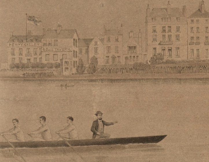 A detail from the Bragg lithograph. On the Putney shore is Henry Kelley's 'Bells Tavern', flying the flag of New South Wales. In the pilot boat is Green's steersman, probably Kelley himself.