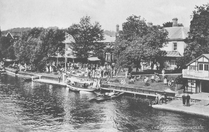 The most common view of Skindles – from the river. This picture is probably from the 1930s and the building on the left (with the veranda) was possibly built or adapted in 1883 as the Guards Club ballroom and bar.