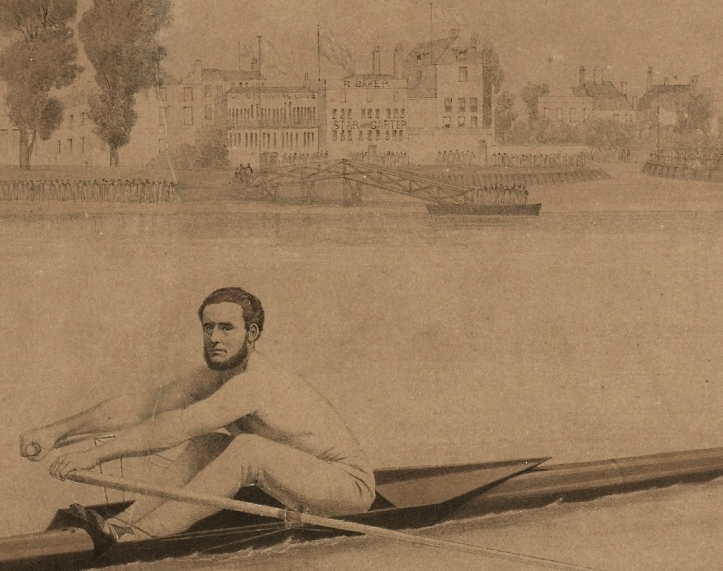 Another detail from Bragg. On the right is R Baker's 'Star and Garter' (which still exists though in a completely rebuilt form) and, to the left of this, the sign for the 'London Rowing Club' can just be made out. Between 1856 and 1871 (when it moved to its present building), London rented the 'new extension' of the 'Star and Garter'.