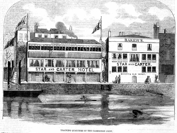 London's clubhouse at the 'Star and Garter' can better be seen in this picture of 1866.
