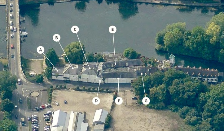An aerial view of the Skindles complex in 2014. 'D' is the Guard's original 1865 club (with the BGBC keystone added later) and 'E' is the ballroom and bar built in 1883.