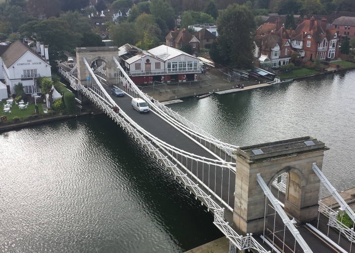 An aerial view of the fire damaged Marlow Rowing Club in 2011.