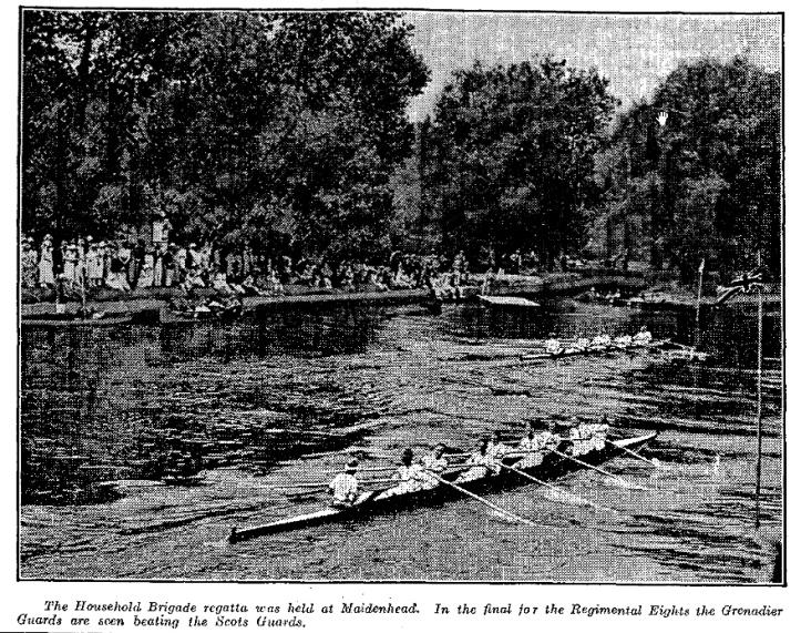 A Times newspaper photograph of the Grenadier Guards beating the Scots Guards in the final of Regimental Eights at the 1921 Regatta.